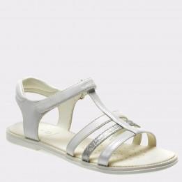Sandale pentru copii GEOX albe, J8235A, din piele ecologica