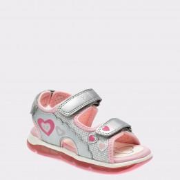Sandale pentru copii GEOX argintii, B820Ea, din piele ecologica