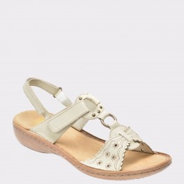 Sandale RIEKER albe, 60867, din piele naturala