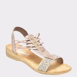 Sandale RIEKER bej, 61662, din piele ecologica