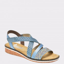 Sandale RIEKER bleu, V3663, din piele ecologica
