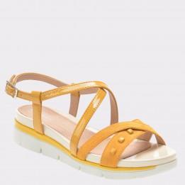 Sandale STONEFLY galbene, Elody2, din piele naturala
