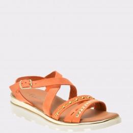 Sandale THE FLEXX portocalii, Grimild, din nabuc
