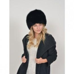 Caciula KLOP neagra, Kazacka, din material textil si piele naturala