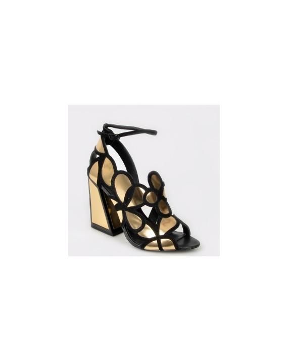 Sandale KAT MACONIE FOR EPICA aurii, Vivi, din piele naturala si material textil