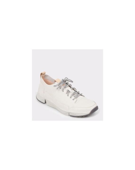 Pantofi CLARKS albi, Trispar, din piele naturala