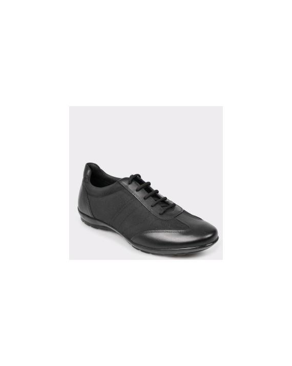 Pantofi GEOX negri, U74A5B, din piele naturala si material textil