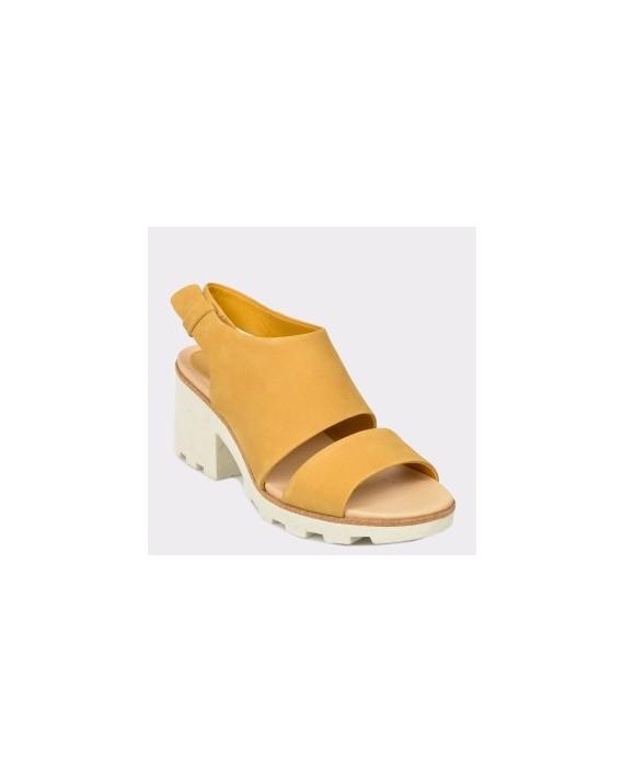 Sandale CLARKS galbene, Renesie, din nabuc