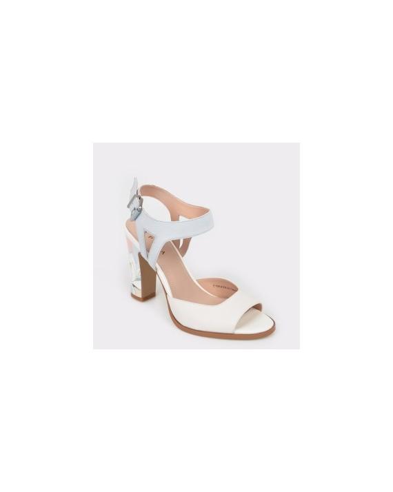 Sandale EPICA albe, E158612, din piele naturala