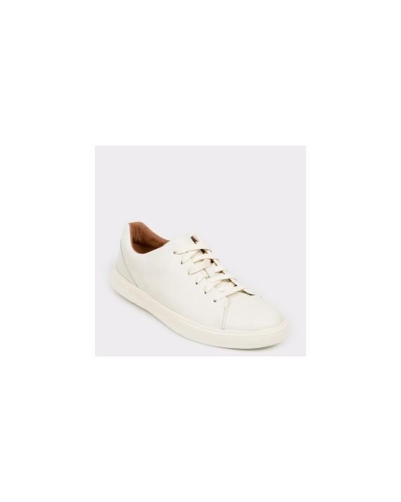 Pantofi sport CLARKS albi, Uncosla, din piele naturala