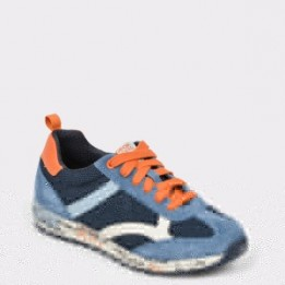Pantofi sport pentru copii GEOX bleumarin, J929Ea, din piele naturala si material textil