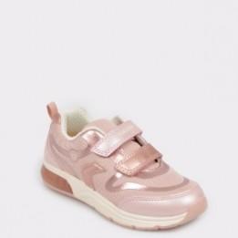 Pantofi sport, pentru copii, GEOX roz, J928Vc, din piele ecologica