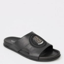 Papuci negri, 17575, din piele naturala
