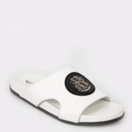 Papuci OTTER albi, 17575, din piele naturala