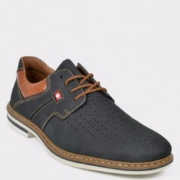 Pantofi RIEKER bleumarin, B1437, din piele intoarsa