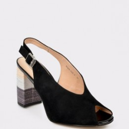 Sandale FLAVIA PASSINI negre, 81233G, din piele intoarsa