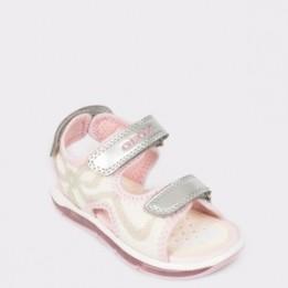 Sandale pentru coii GEOX albe, B920Ea, din piele ecologica