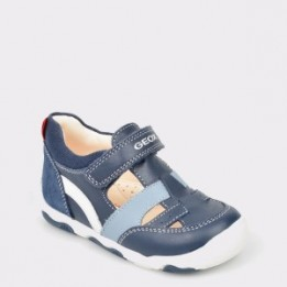 Pantofi pentru copii GEOX bleumarin, B920Pb, din piele naturala si material textil