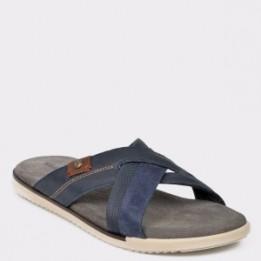 Papuci SALAMANDER bleumarin, 75025, din piele naturala