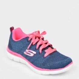 Pantofi sport pentru copii SKECHERS albastri, 81655L, din material textil