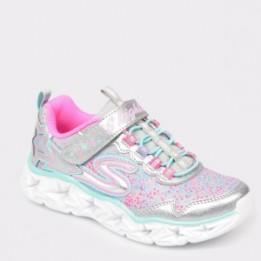 Pantofi sport pentru copii SKECHERS argintii, 10920L, din piele ecologica