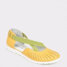 Pantofi pentru copii SELECTIONS KIDS galbeni, Camp1, din piele naturala