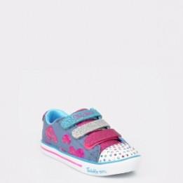 Pantofi sport pentru copii SKECHERS argintii, 20051L, din piele ecologica