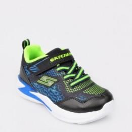 Pantofi sport pentru copii SKECHERS negri, 90563N, din piele ecologica