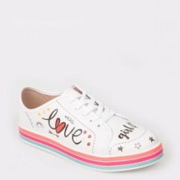 Pantofi sport pentru fetita albi, 2520304, din piele ecologica