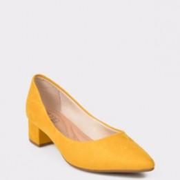 Pantofi galbeni, 4182100, din piele ecologica