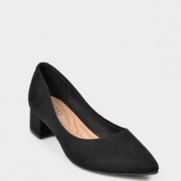 Pantofi negri, 4182100, din piele ecologica