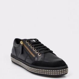 Pantofi sport GEOX negri, D94FFE, piele naturala