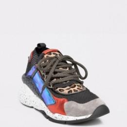 Pantofi sport EPICA negri, 3027, din material textil si piele naturala