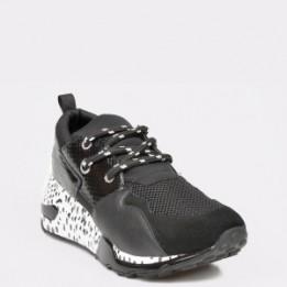 Pantofi sport STEVE MADDEN negri, Cliff, din material textil si piele naturala