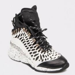 Pantofi sport FLAVIA PASSINI alb-negre, 3052, din material textil si piele naturala