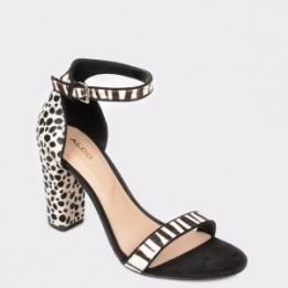 Sandale ALDO alb-negru, Jerayclya, din piele intoarsa