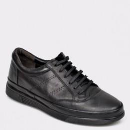 Pantofi OTTER negri, 6439, din piele naturala