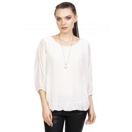 Bluza eleganta alba COLIER A