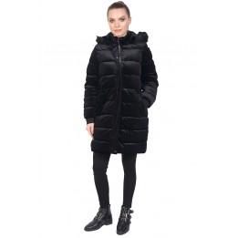 Jacheta lunga neagra din catifea 7014 NG