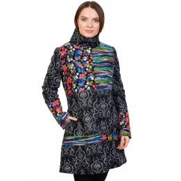 Palton dama negru cu insertii tricotate 171916 NG