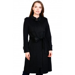 Palton elegant negru din stofa AT8237 NG