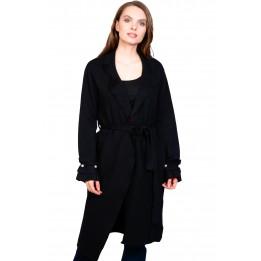 Pulover cardigan lung negru W9062 NG