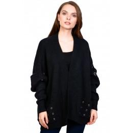 Pulover casual negru tip cardigan 1359 NG