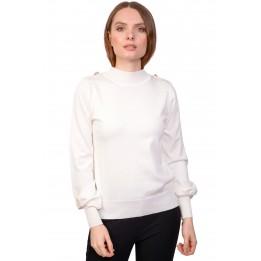 Pulover dama alb cu epoleti QX110 A