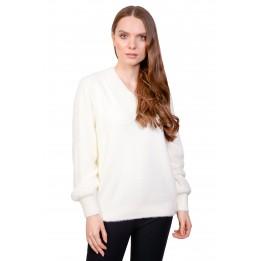 Pulover dama alb pufos 8629 A