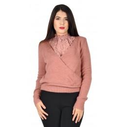 Pulover dama roz 2in1 19744 R