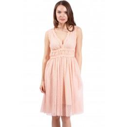 Rochie de seara roz din tull cu broderie 22130 R