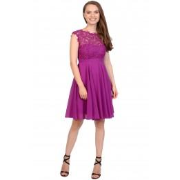 Rochie de seara violet cu broderie florala R1271QS V