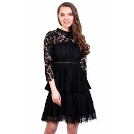 Rochie eleganta neagra cu dantela si voal 3190 NG