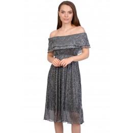 Rochie eleganta neagra din lurex 1071